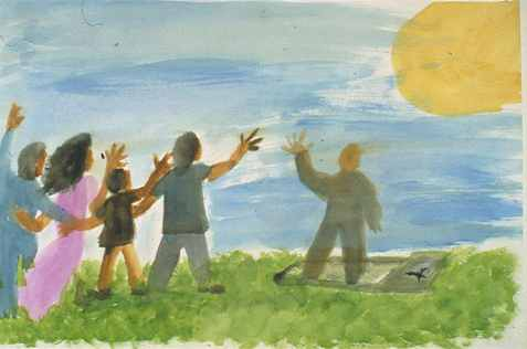 childs painting of grief saying goodbye to dead grandfather