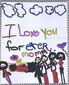child drawing of mommy's funeral