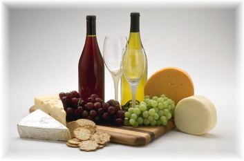 gourmet food basket with wine and cheese