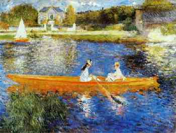 renoir painting of lovers in rowboat