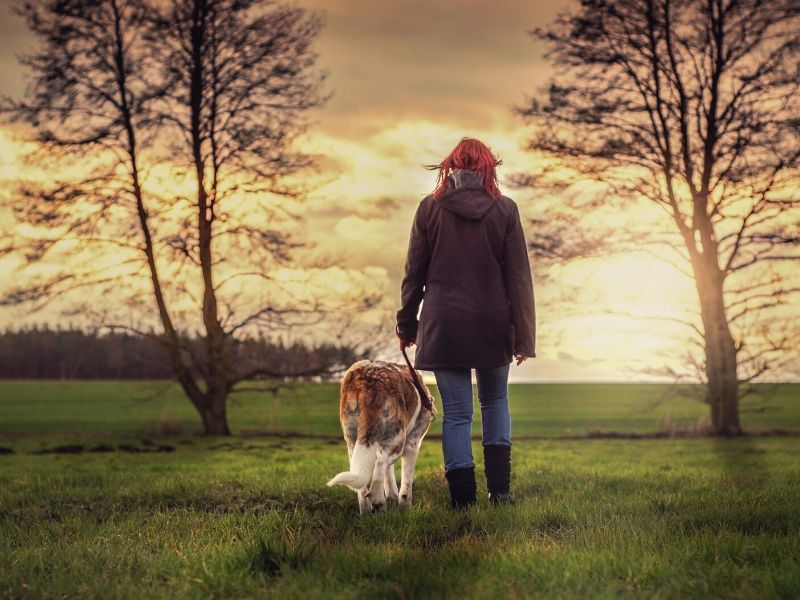 Girl walking with her dog