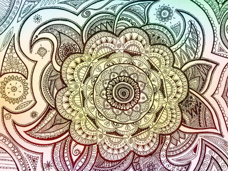 Mandala colored in soft, soothing colors