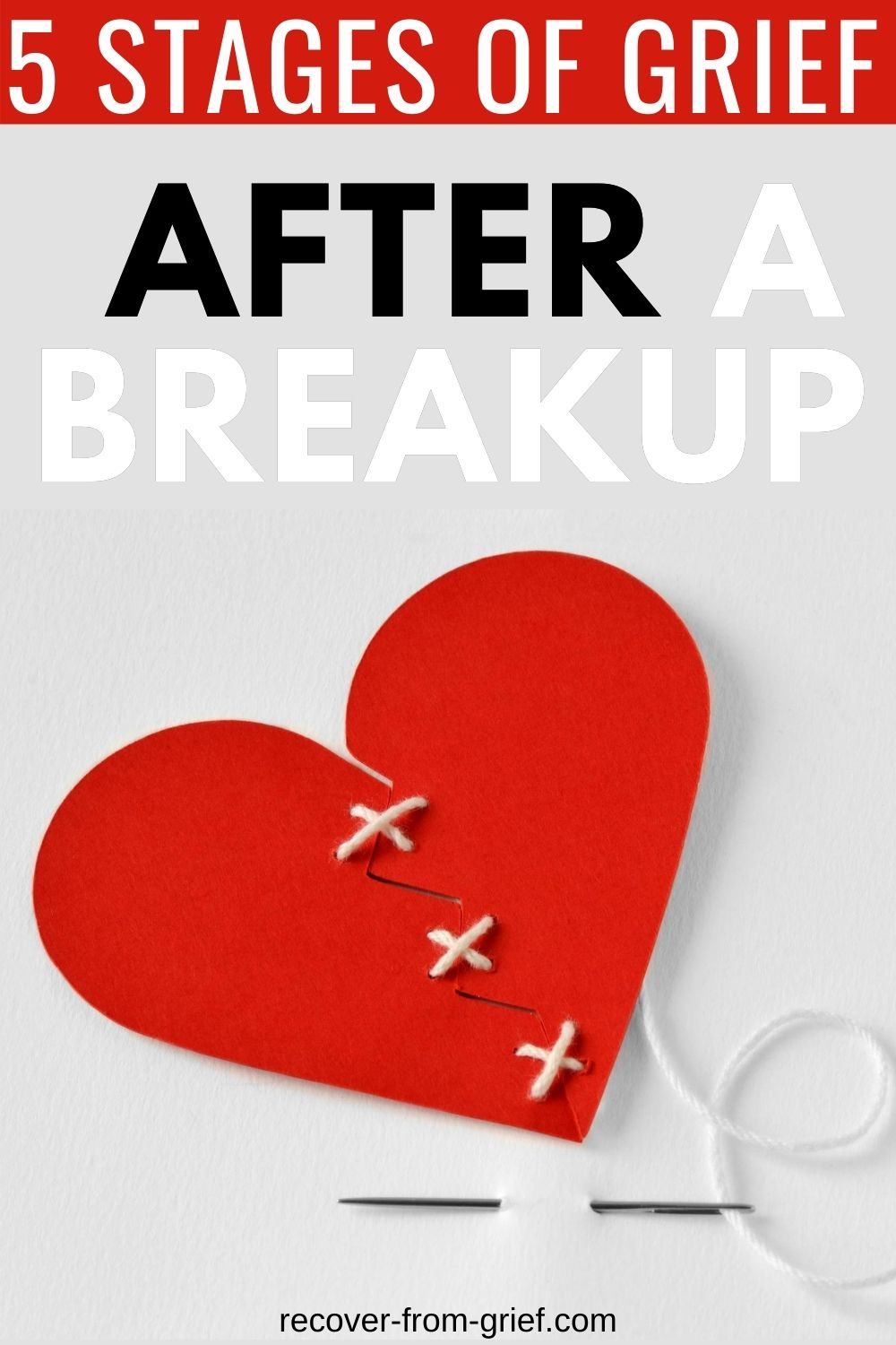 5 stages of grief after breakup - Pinterest image