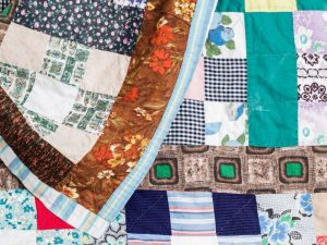 Memorial quilts made from pieces of material from the loved one's clothes